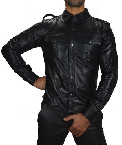 Leather Shirt Full sleeves