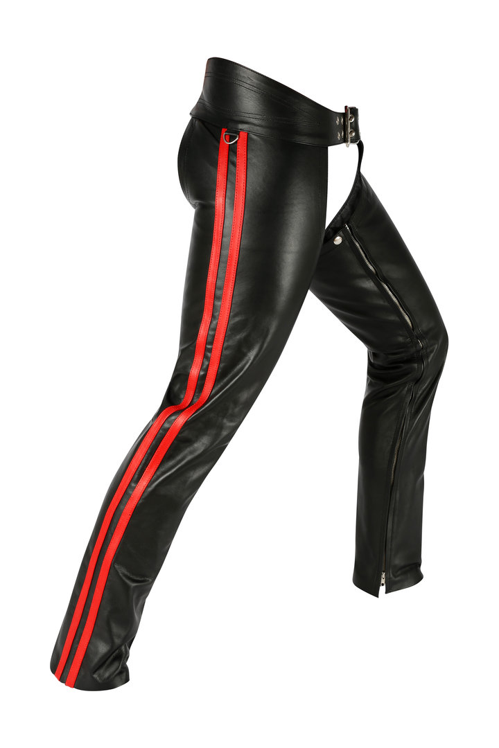 Leather Chaps with 2 Red Stripes Plain Leather