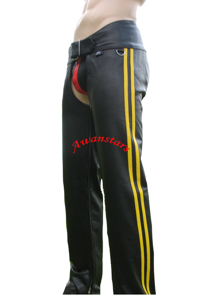 Leather Chaps with 2 Yellow Stripes