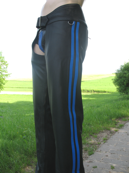 Leather Chaps with 2 Blue  Stripes