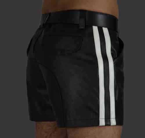 Leather Shorts With 2 Stripes