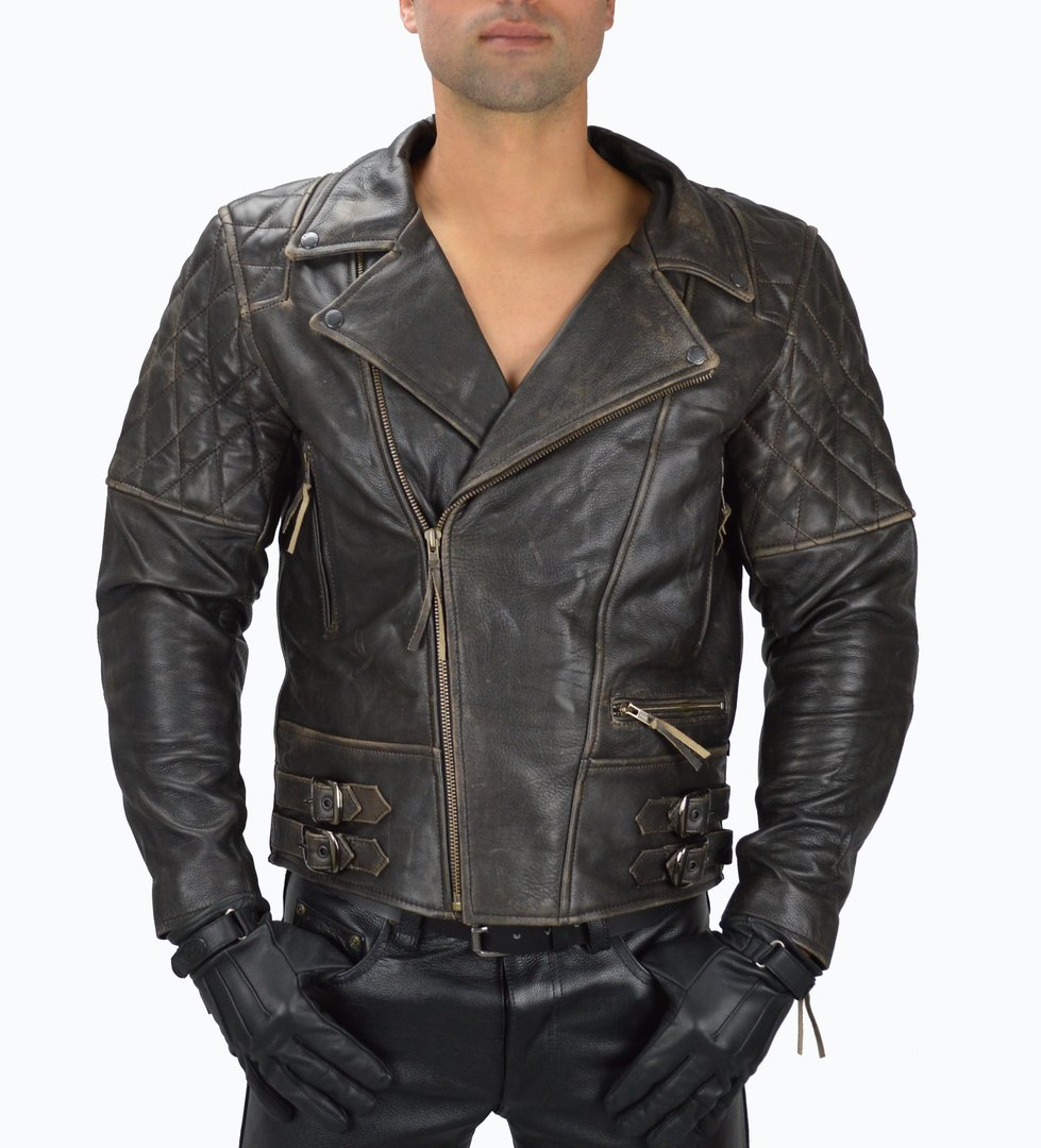 Lederjacke Vintage Cowhide Motorrad Lederjacke Brando,Chopper,Biker Leather Jacket side Buckles