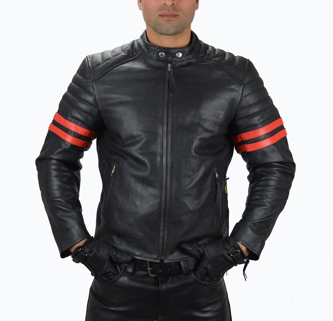 Motorrad Lederjacke mit 2 Roten streifen Brando,Chopper,Biker Leather Jacket side Zipper