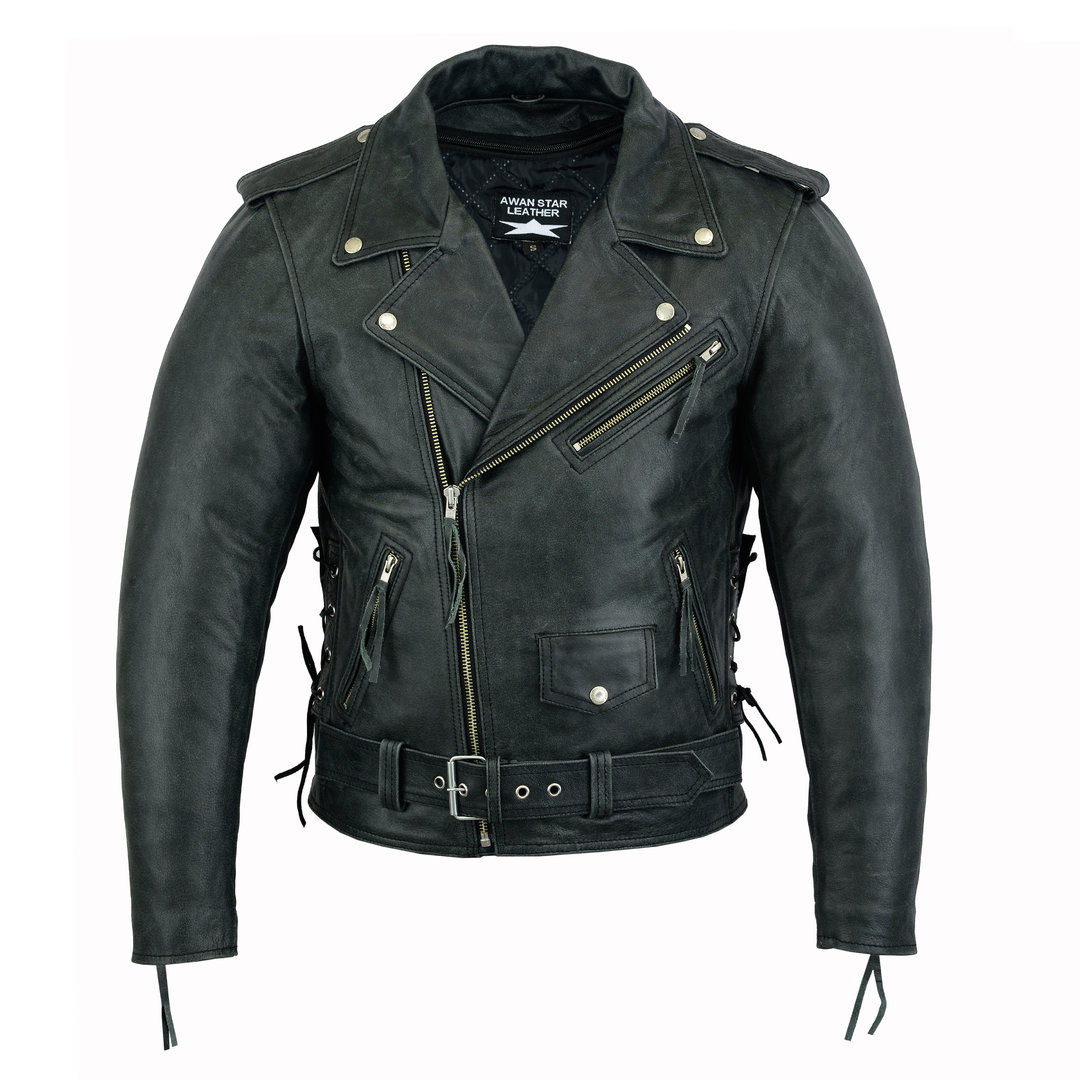 Motorrad Lederjacke Brando Old Look,Chopper,Biker Leather Jacket side Laces
