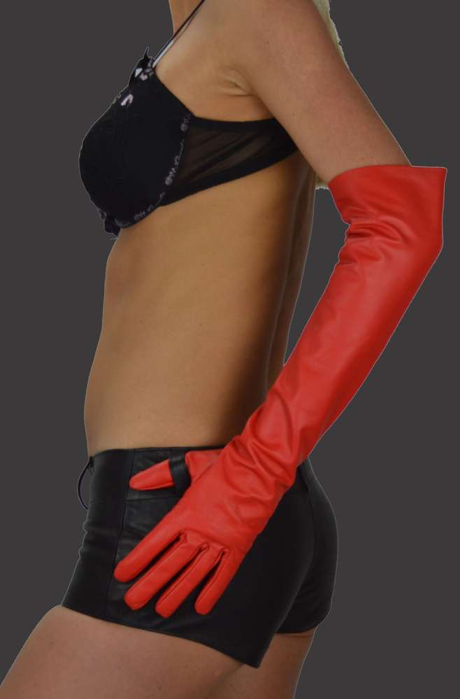 00f4a59341b81a Women Red Long Leather Gloves - Awanstar Leather Fashion