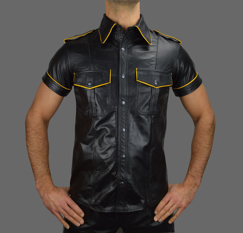 Leather Shirt with yellow Piping