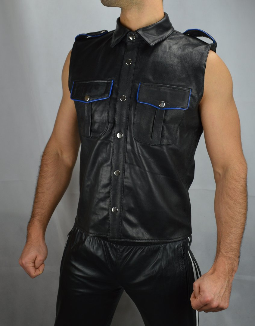 Sleeveless Leather Shirt