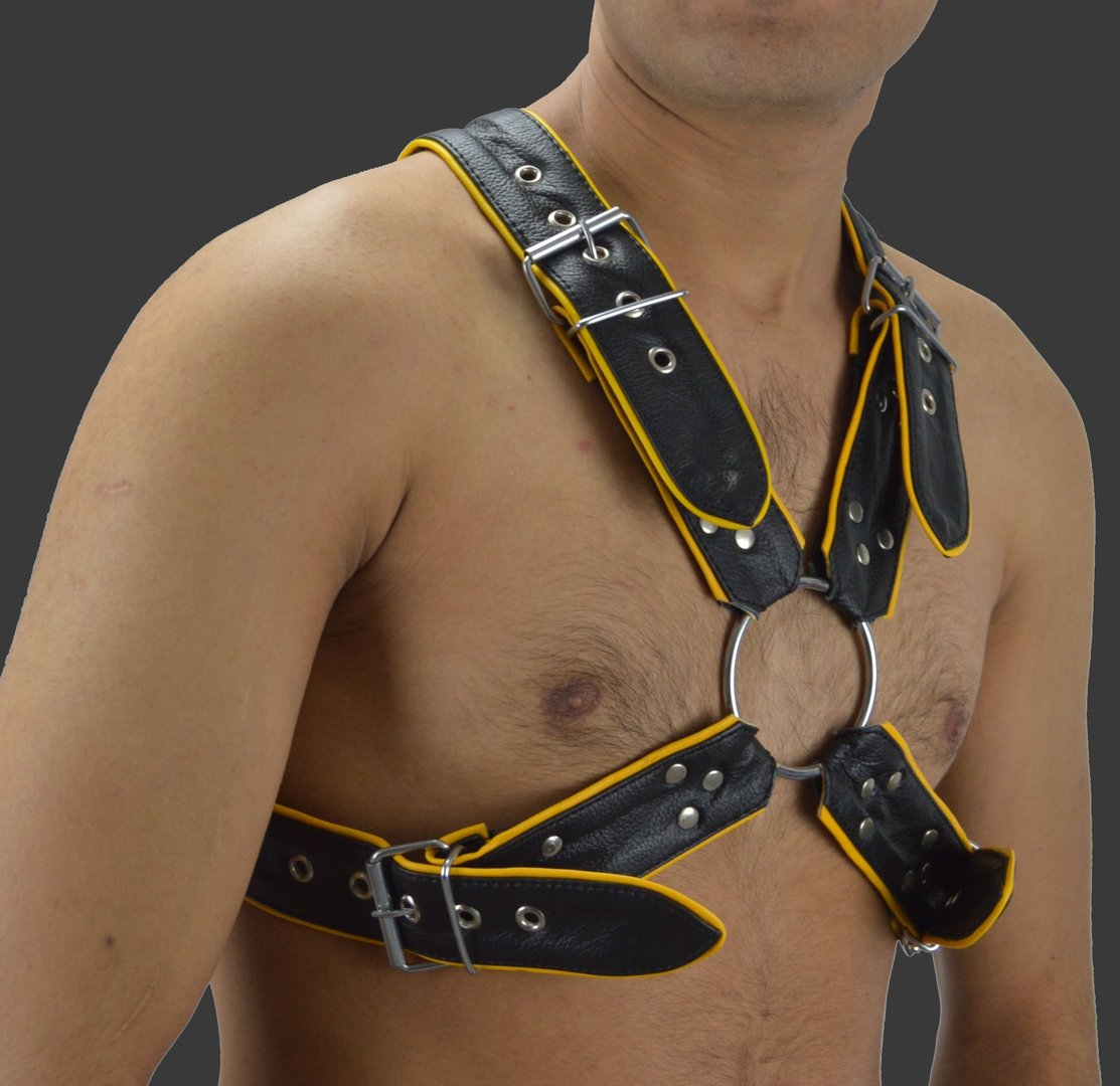 Leder Body Harness mit Schnallen  +Piping