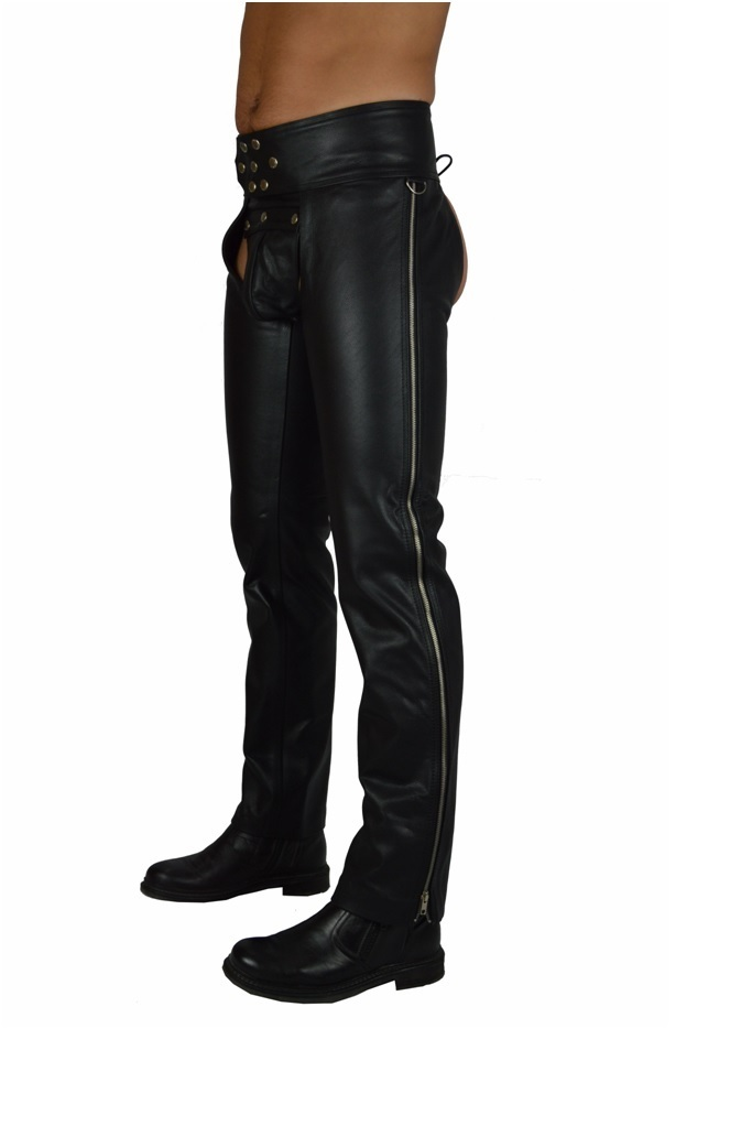 Leather Chaps with Side Zipper
