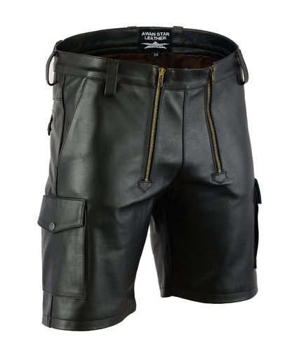 Made of Soft Leather Carpenter Shorts in Cargo Style