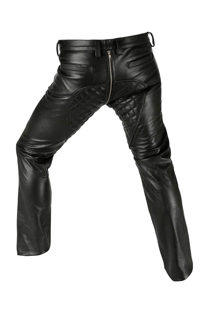 Glattesleder Lederhose padded 2 Way Zipper