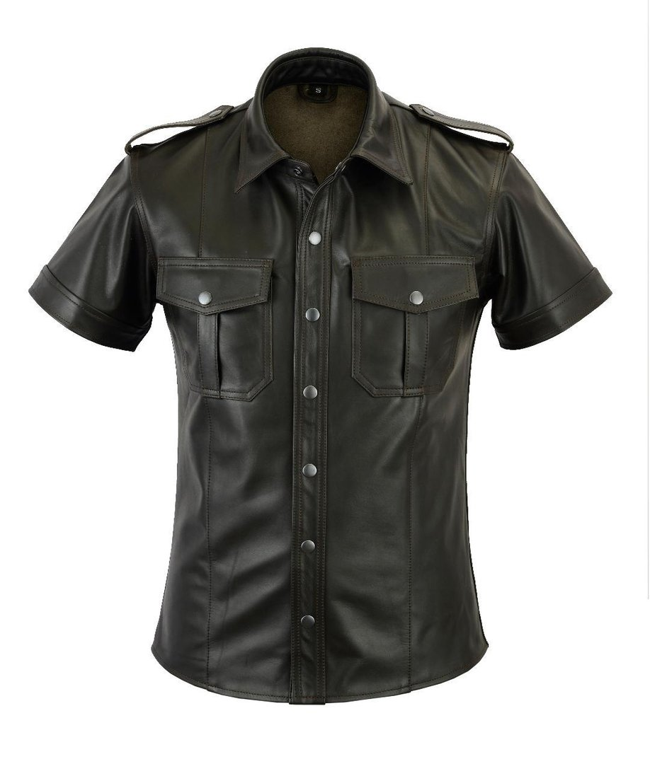Antik Old Look Leder Hemd,Lederhemd,Leather Shirt