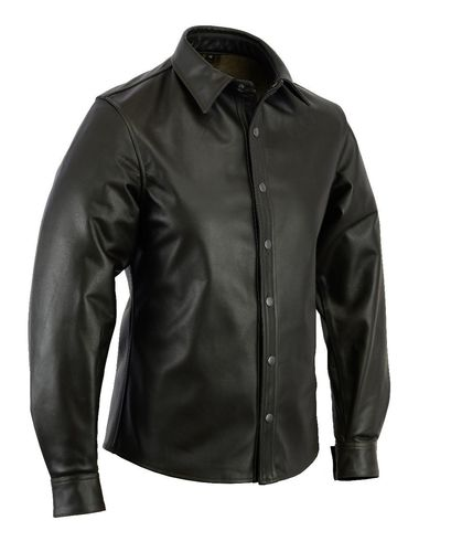 Brown Leather Shirt Full sleeves