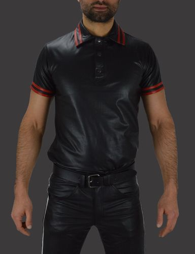 Leather Polo Shirt with Stripes