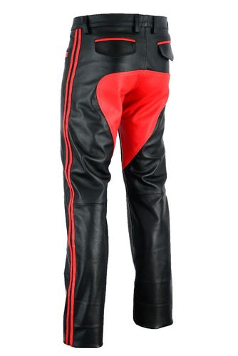 leather Trousers with Red Patch / stripes
