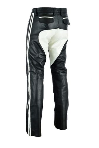 leather Trousers with White Patch / stripes