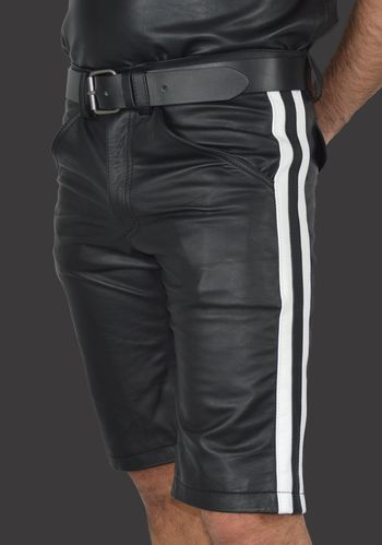 knee long smooth leather Leather Shorts With 2 Stripes