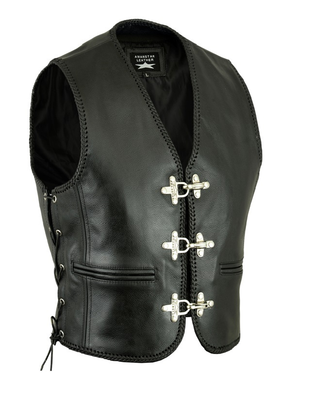 Color Black Biker Waistcoat Braiding Edging Motorrad lederweste Geflochtenen Ränder Kutte Side Laces