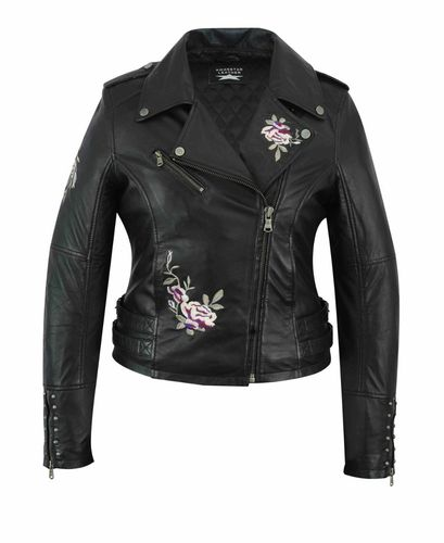 Women leather jacket with embroidery