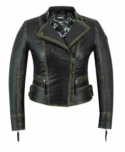 Made of soft Sheep Women leather jacket Black old look