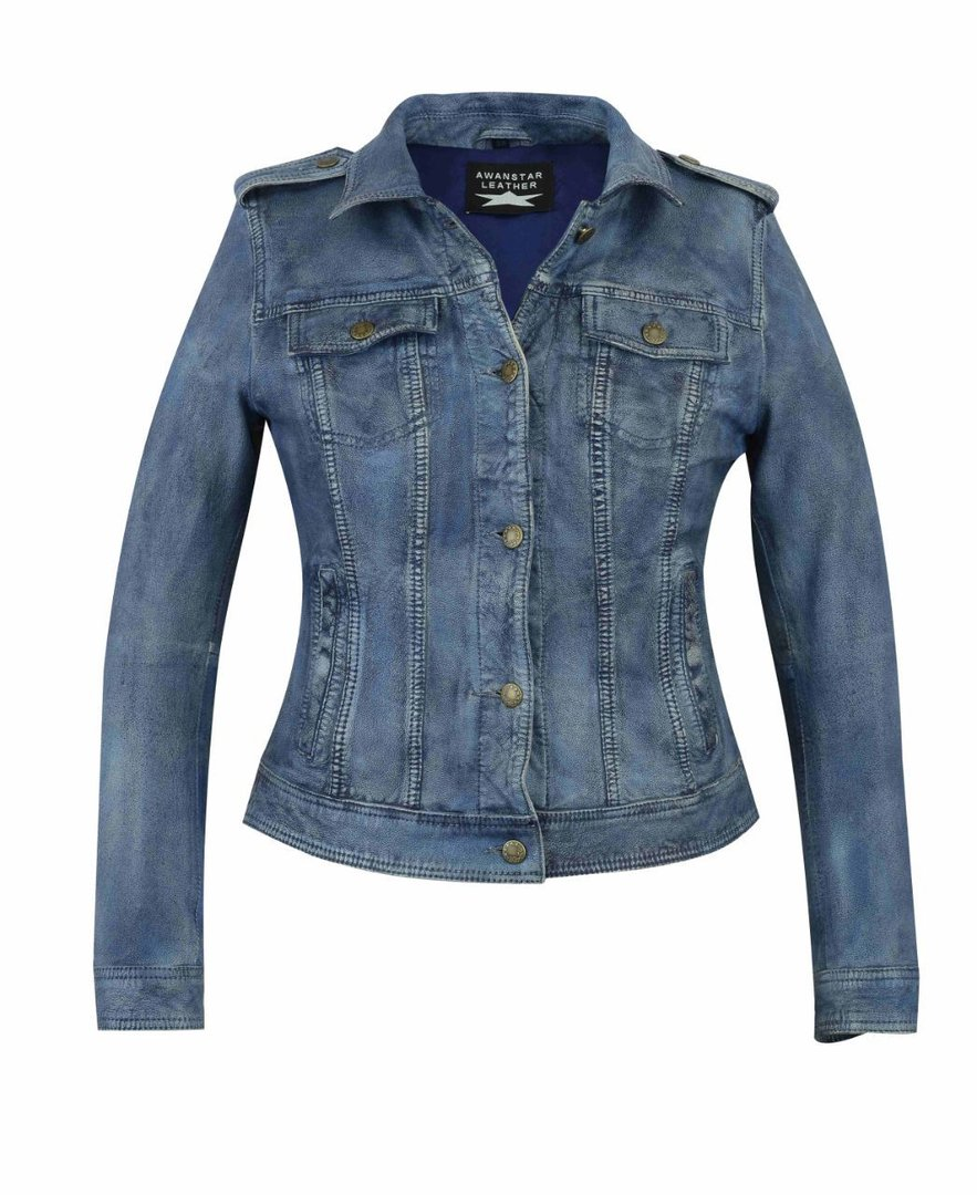 Damen lederjacke in Jeans-optik