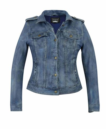 Ladies leather jacket in jeans look