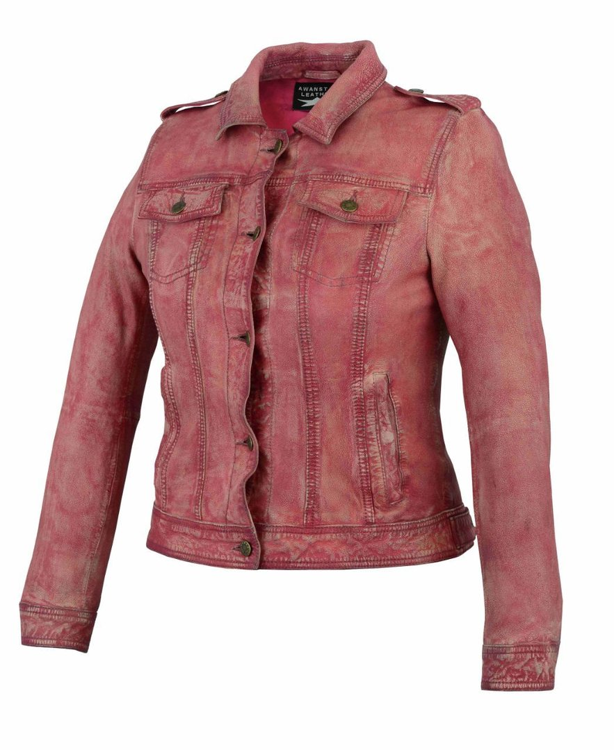 Damen lederjacke Pink in Jeans-optik