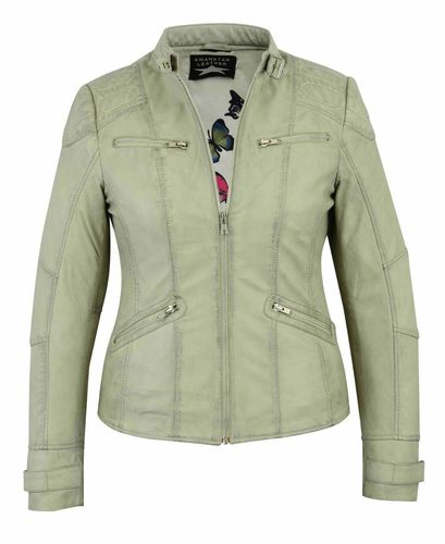 Women leather jacket Stone