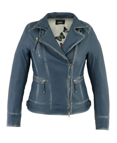 Damen lederjacke Sky Blue Used-Optik