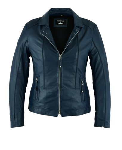 Made of soft Sheep Women leather jacket Blue