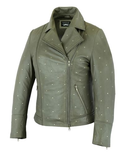 leather jacket for women with Rivets