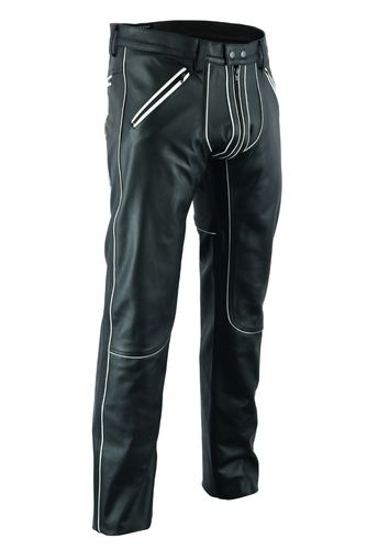 AW-1122 leather trousers with White Piping