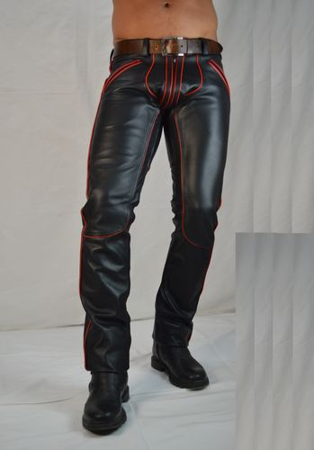 AW-1122 Leather trousers with red Piping