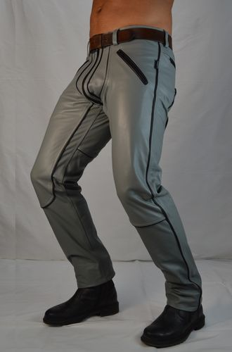 AW-1122 Leather trousers Grey with Black Piping