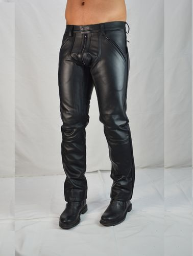 AW-1122 Leather trousers with Black Piping