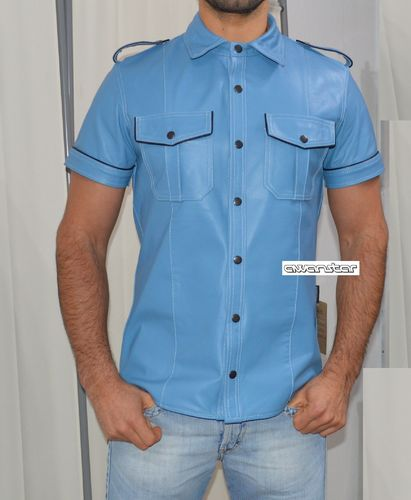 Blue Leather Shirt with Piping