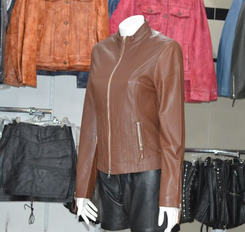 Women leather jacket Camel