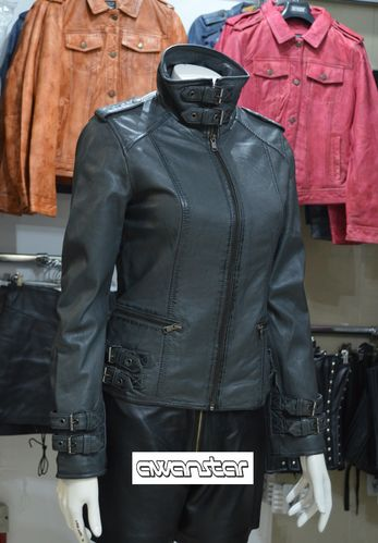 Women leather jacket Dark grey