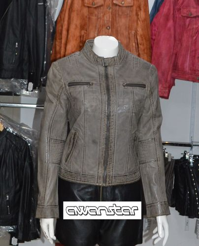 Women leather jacket  grey