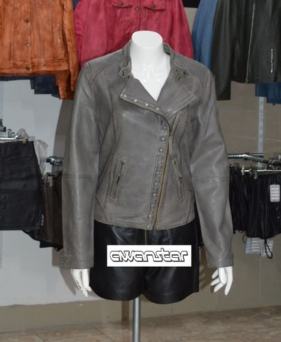 Women leather jacket  grey with Rivets