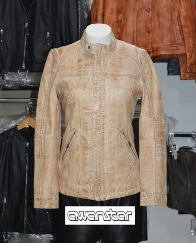 Women leather jacket light brown